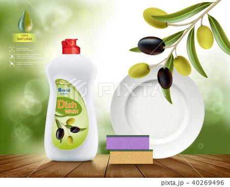 Dishwashing liquid soap with olive 40269496
