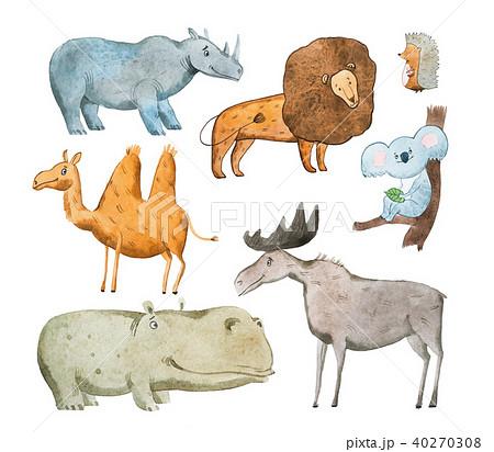 Watercolor illustration of animals hand drawn aquarelle. 40270308