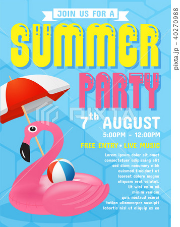 summer party invitation flyer background template のイラスト素材
