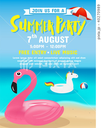 summer party invitation flyer background templateのイラスト素材