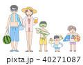 夫婦と子ども3人_海水浴 40271087
