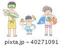 子ども3人_海水浴 40271091