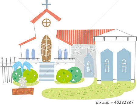 ゲストハウスの結婚式場のイラスト素材 40282837 Pixta