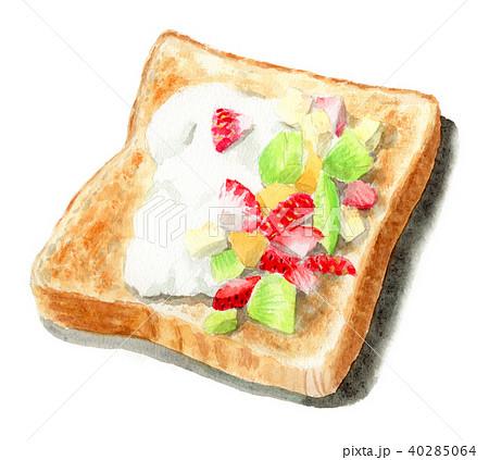 水彩で描いたフルーツとクリームを乗せたトースト 40285064