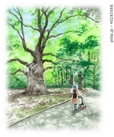 水彩で描いた大木のそばを散歩する親子 40285068