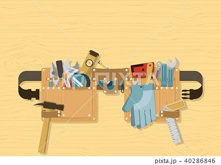 Tool belt on wood background 40286846