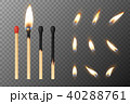 Vector 3d realistic match stick and different flame icon set, closeup isolated on transparency grid 40288761
