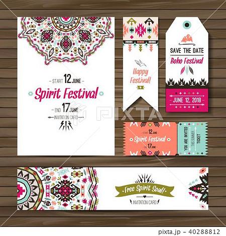 set of geometric boho colorful flyers vector decorative ethnic