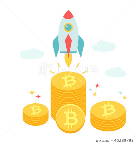 Rocket flying above piles of bitcoins. 40289798