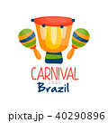 Brazil Carnival logo, bright fest.ive party banner with drum and maracas vector Illustration on a 40290896
