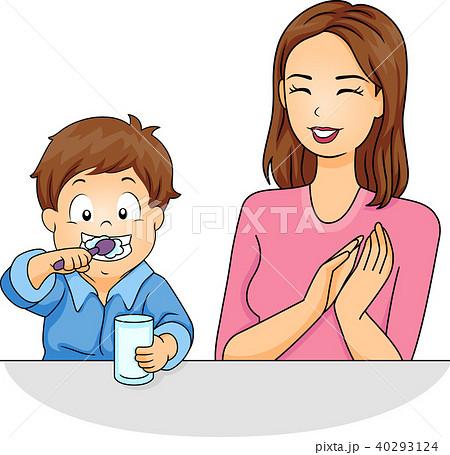 girl mom kid boy brush teeth praise illustrationのイラスト素材