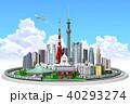 街並み、東京、山手線入道雲 40293274