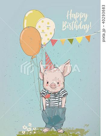 birthday cartoon little pig 40293683