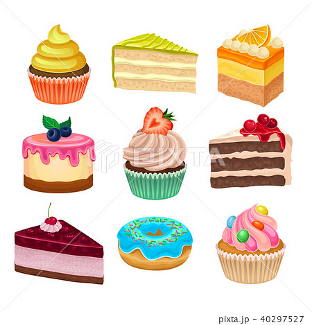 Flat vector set of various sweet desserts. Cupcakes, doughnut and cakes. Tasty baked goods. Flat 40297527