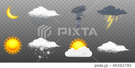Modern Realistic weather icons set. Meteorology symbols on transparent background. Color Vector 40302783