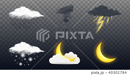 Modern Realistic weather icons set. Meteorology symbols on transparent background. Color Vector 40302784