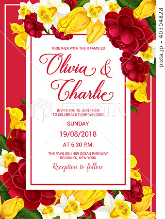wedding celebration invitation with spring flowerのイラスト素材
