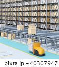 大型自動物流センターのインテリアイメージ。AGV無人搬送車、無人運転フォークリフトによる効率化 40307947