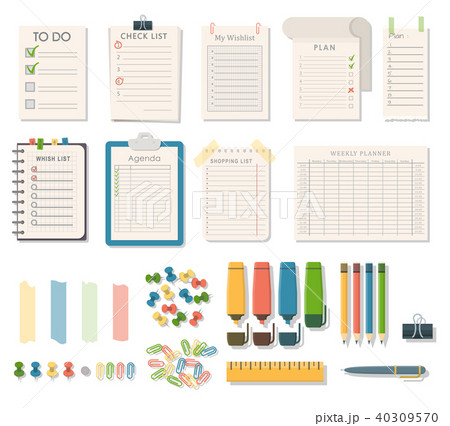 Agenda list vector business paper clipboard in flat style self-adhesive checklist notes schedule 40309570
