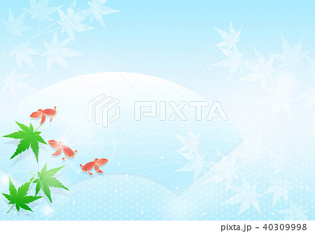 涼しげな青紅葉と金魚 和イメージ 40309998