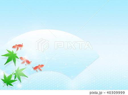 涼しげな青紅葉と金魚 和イメージ 40309999