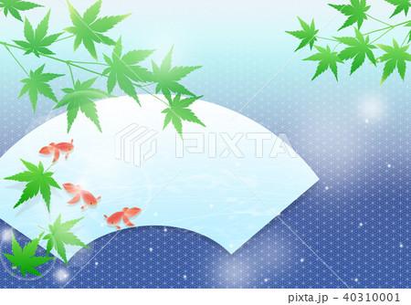 涼しげな青紅葉と金魚 和イメージ 40310001