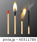 Vector 3d realistic match stick icon set, closeup isolated on transparency grid background. Whole 40311780