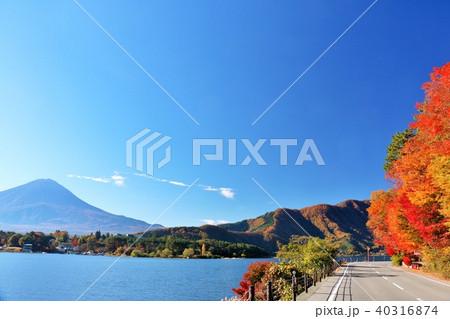山梨県 秋の青空と湖北ビューラインからの富士山と紅葉 40316874