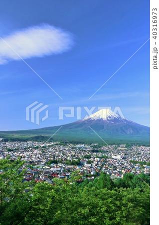 初夏の新緑と街と富士山 40316973