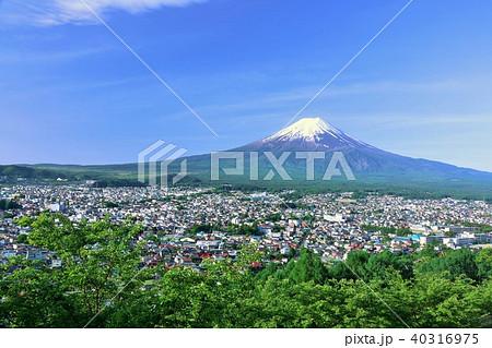 初夏の新緑と街と富士山 40316975