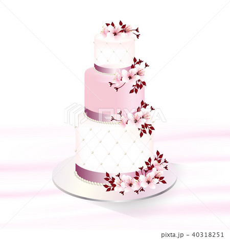 wedding cake decorated with cherry blossoms 40318251