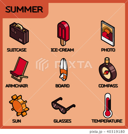 Summer color outline isometric icons 40319180