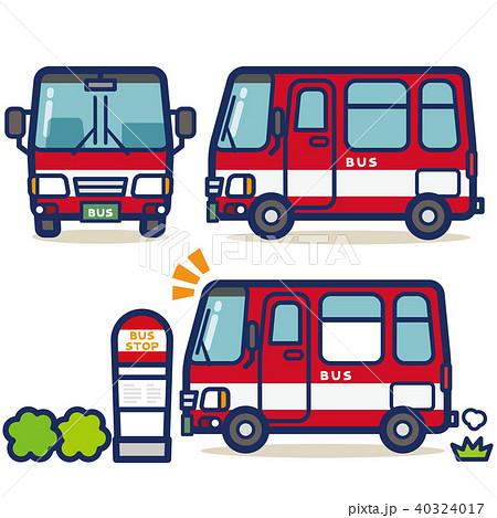 はたらく乗り物 バス(赤系) 40324017