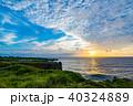 【沖縄県】夕焼けの万座毛 40324889