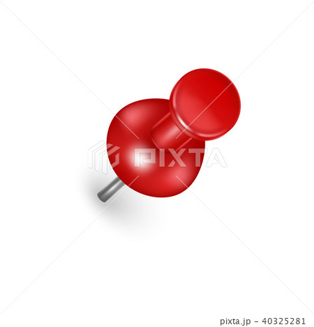 realistic detailed 3d red push pin vectorのイラスト素材 40325281