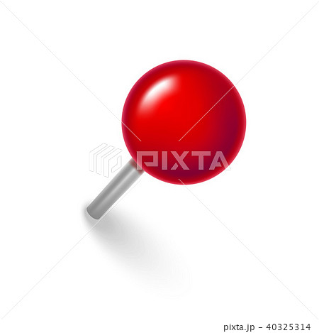 realistic detailed 3d red push pin vectorのイラスト素材 40325314