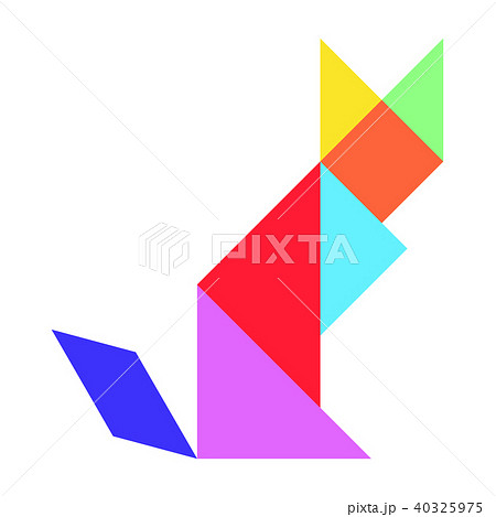 Colorful tangram puzzle in cat shape 40325975