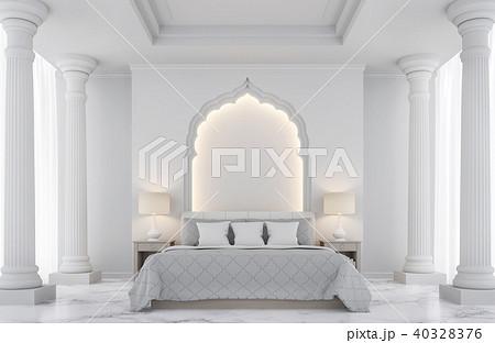 Luxury white bedroom 3D render 40328376