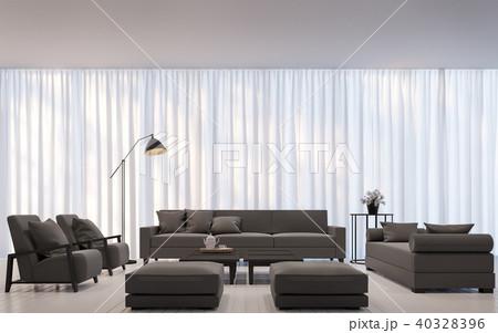 Modern white living room minimal style 3D render 40328396