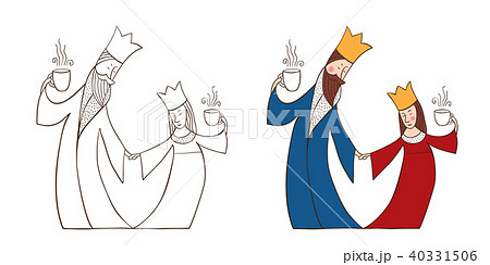 king and queen with cupsのイラスト素材 40331506 pixta