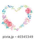 花 ハート リースのイラスト 40345349