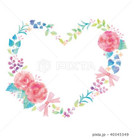 花のハートのイラスト 40345349