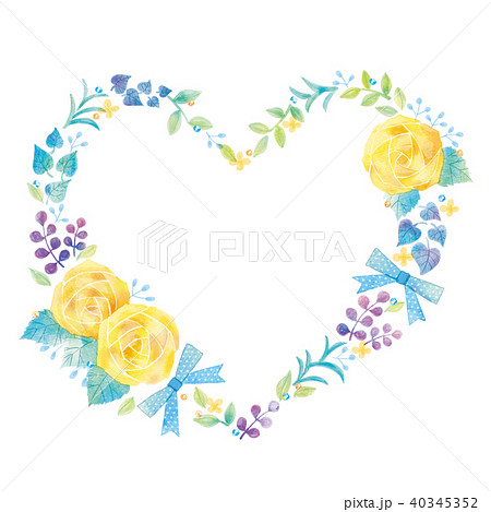 花のハートのイラスト 40345352