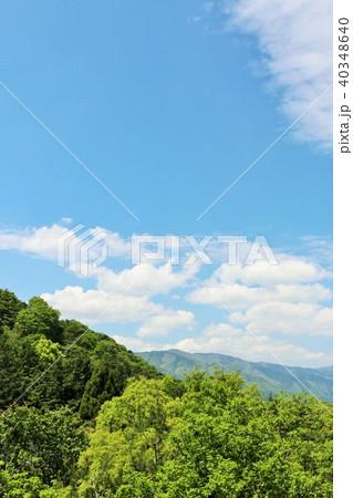 初夏の青空と新緑の山 40348640
