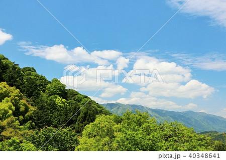 初夏の青空と新緑の山 40348641