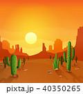 サボテン 砂漠 太陽のイラスト 40350265