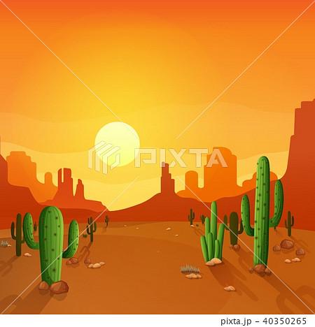 Desert landscape with cactuses on the sunset backg 40350265