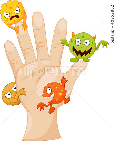 Dirty palm with cartoon germs 40352962