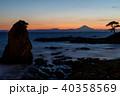 富士山 夕焼け 海の写真 40358569