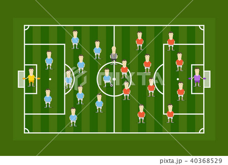 green football field with football playersのイラスト素材 40368529
